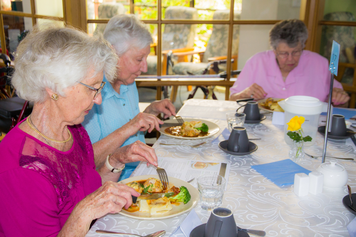 Residents enjoying their meal after cooking demonstration